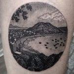 Tatuajes de paisajes circulares