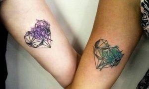 Tatuajes de corazones de diamante
