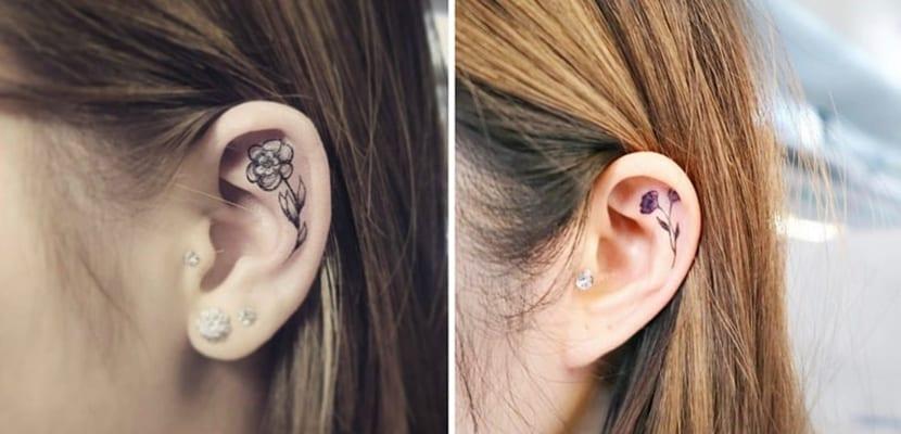 Tatuajes de flores en la oreja