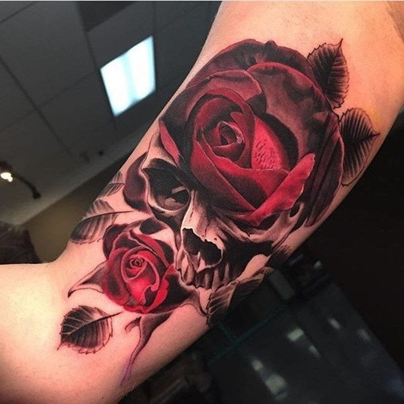 Tatuajes De Rosas Y Calaveras Dos Diseños Clásicos Que Quedan De Muerte