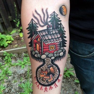 Tatuajes de vacaciones bungaló