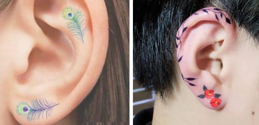 Tatuajes en color en la oreja