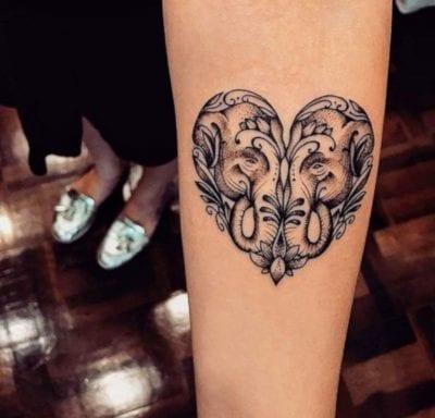 Tatuajes con forma de corazón elefante
