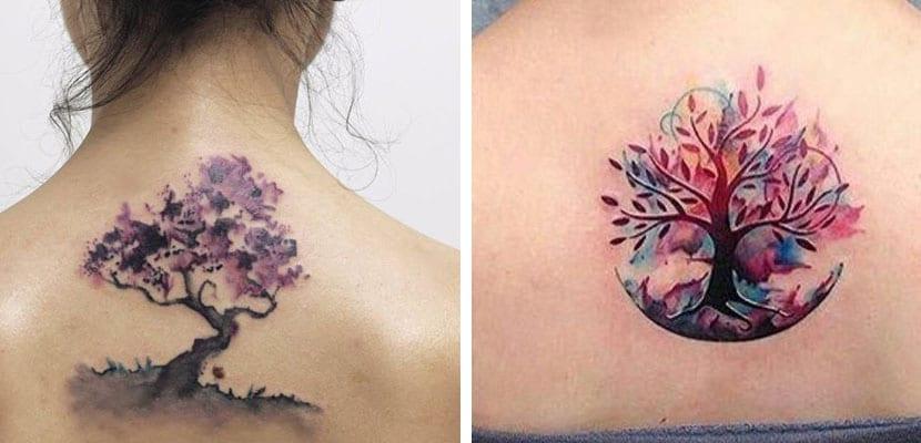 Tatuajes de árboles coloridos