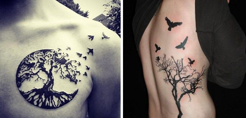 Tatuajes de árboles y pájaros
