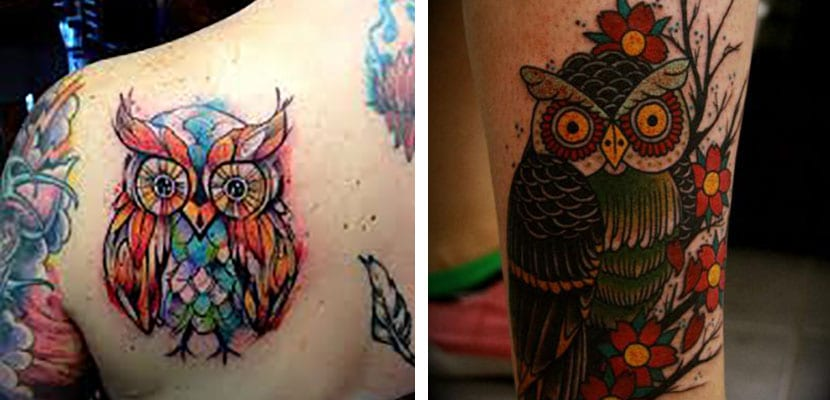 Tatuajes de búhos en color
