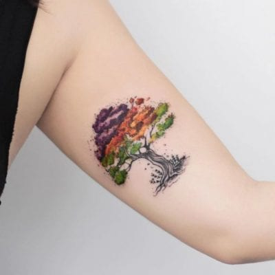 Tatuajes de árbol de la vida color