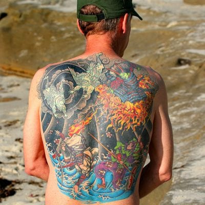 Tatuajes japoneses en la espalda grande