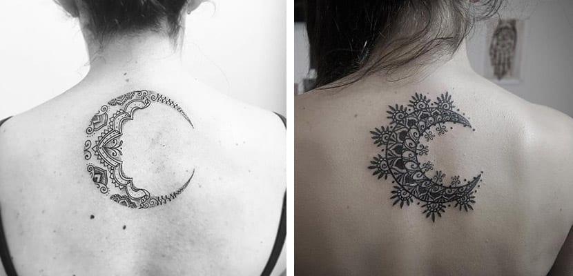Tatuaje de luna con arabescos