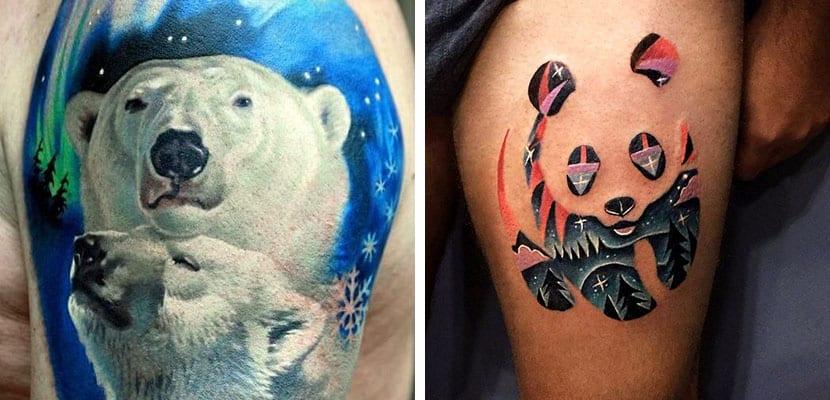 Tatuajes de osos con paisajes