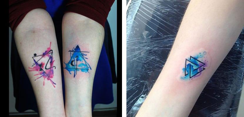 Triángulos con acuarela