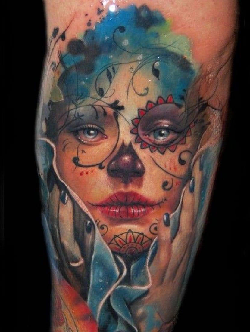 Tatuaje de Catrina en color