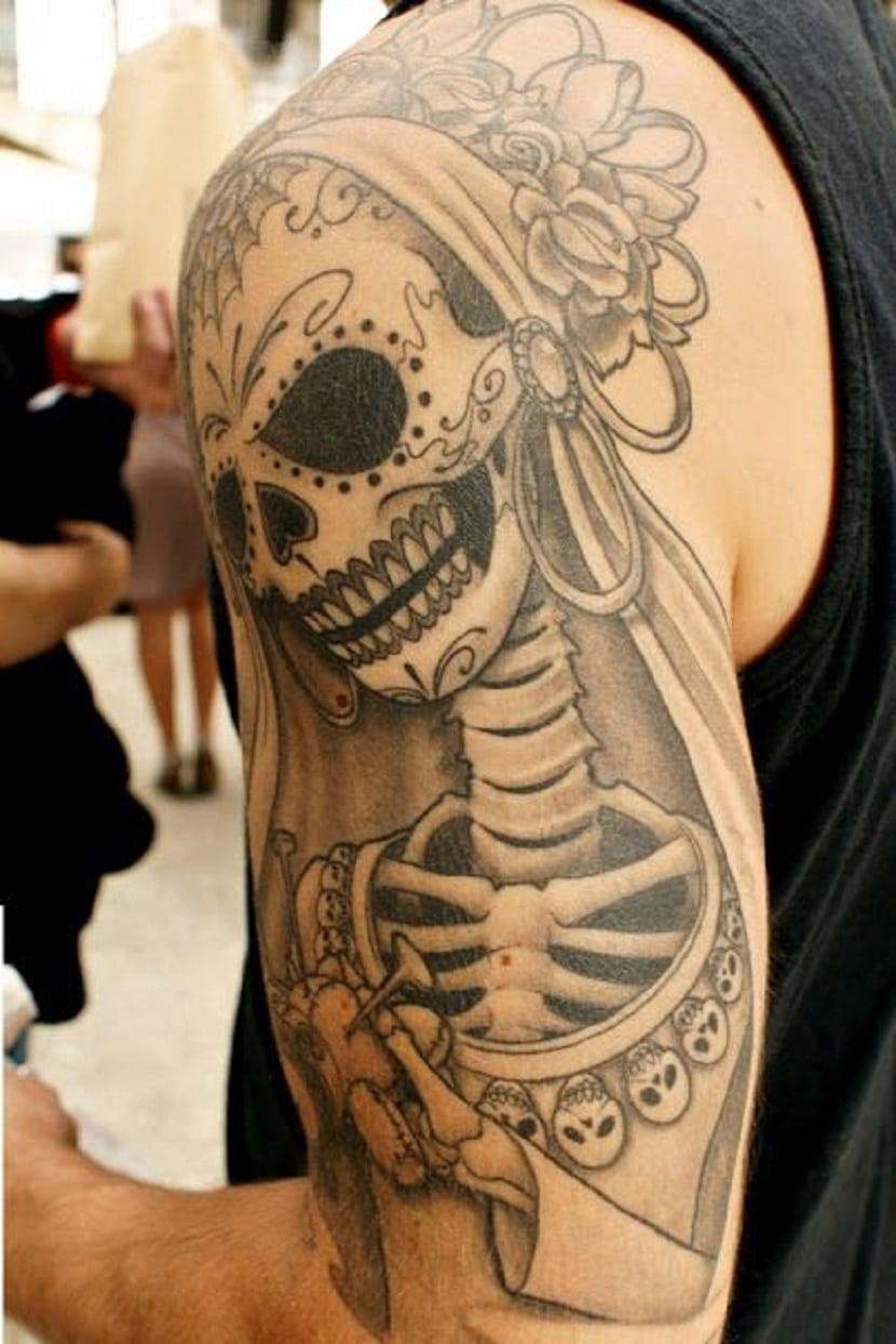 Tatuajes en el brazo de Catrinas