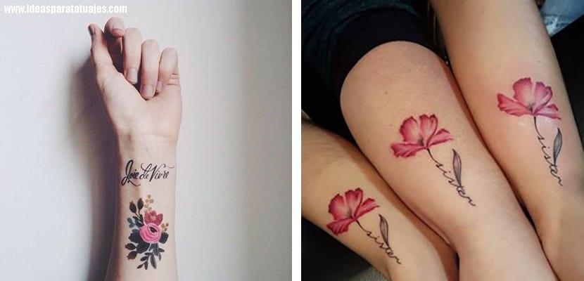 Tatuajes de flores con nombres