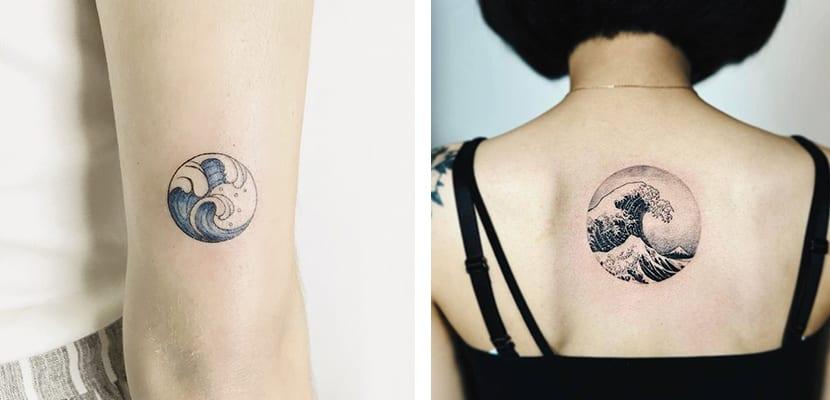 Tatuajes circulares de olas