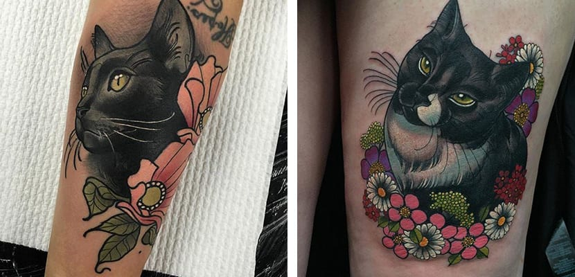 Tatuaje de gato con flores
