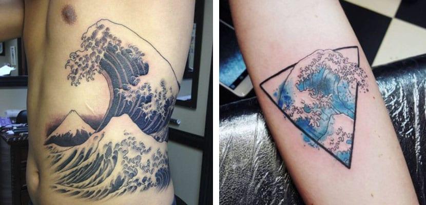 Tatuaje japonés de olas