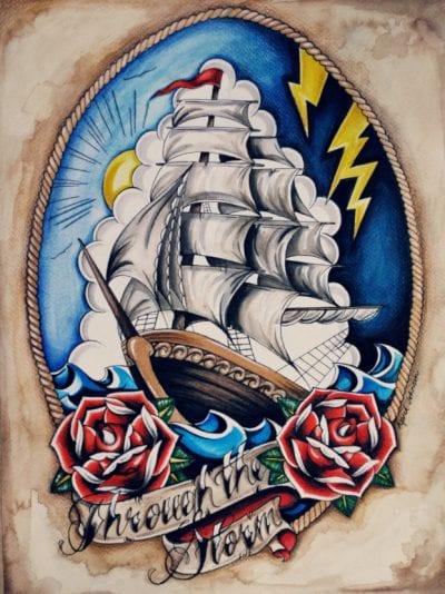 Tatuajes navales rosas