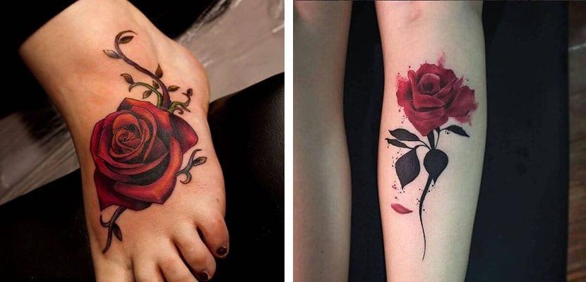 Tatuajes rojos de rosas