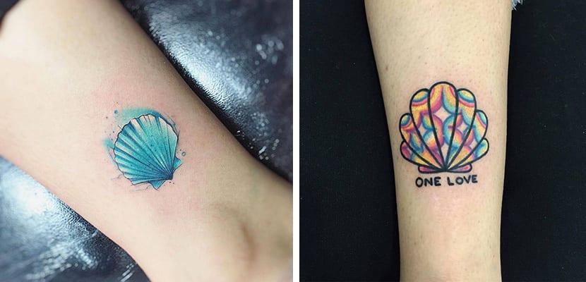 Tatuajes de conchas en color