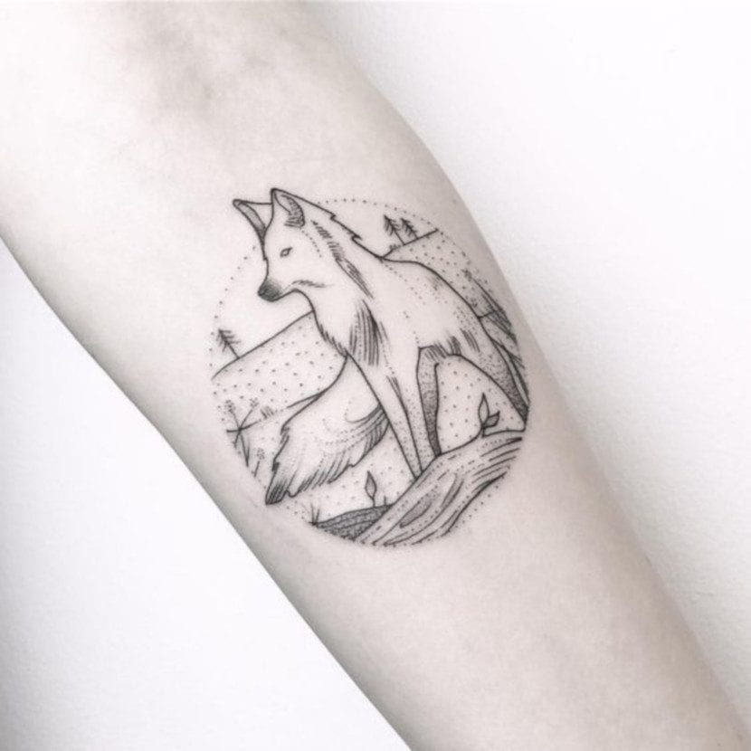 Tatuajes de Bosques con Lobos redondo