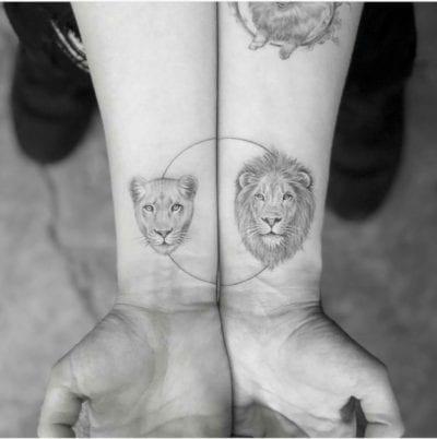 Tatuajes de león y leona
