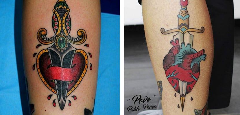 Tatuajes de corazones con puñales