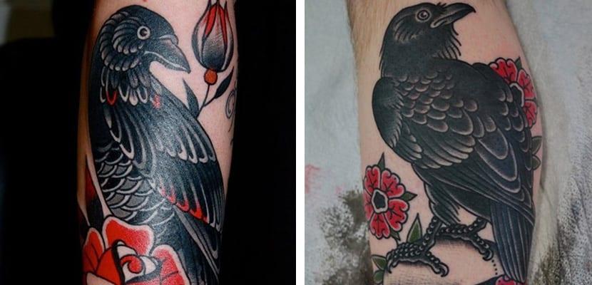 Tatuajes de cuervos old school