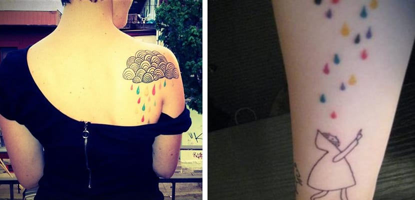 Tatuaje de lluvia de colores