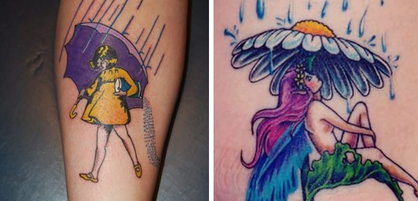 Tatuaje de lluvia colorida