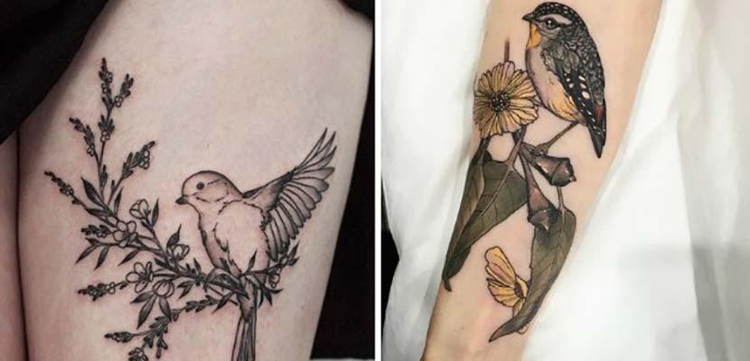 Tatuajes de pájaros con flores