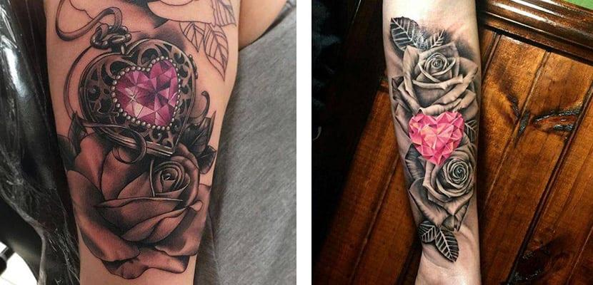 Tatuajes de joyas y flores