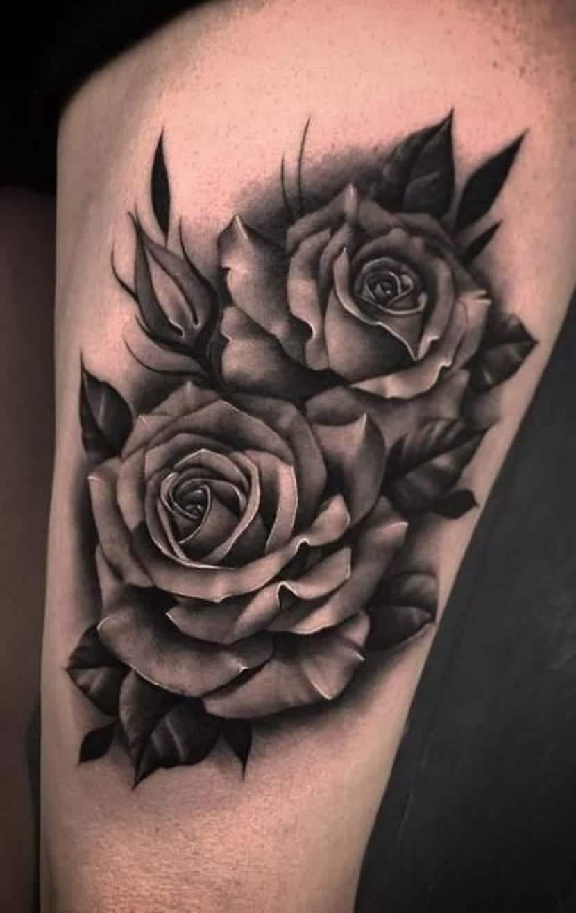 Tatuajes de rosas en la pierna