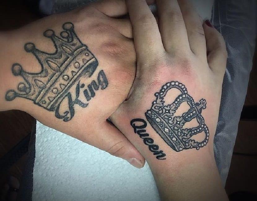 tatuajes coronas rey y reina