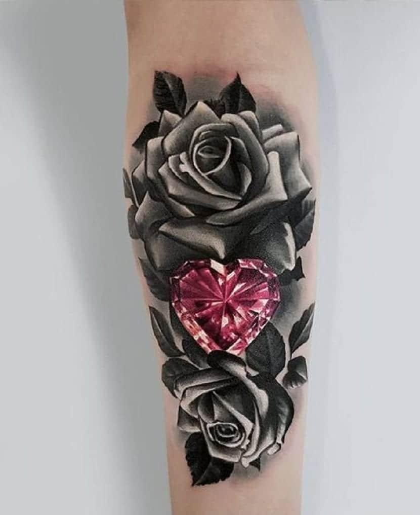 Tatuajes rosas negras
