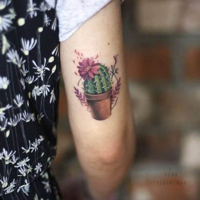 tatuaje cactus flores