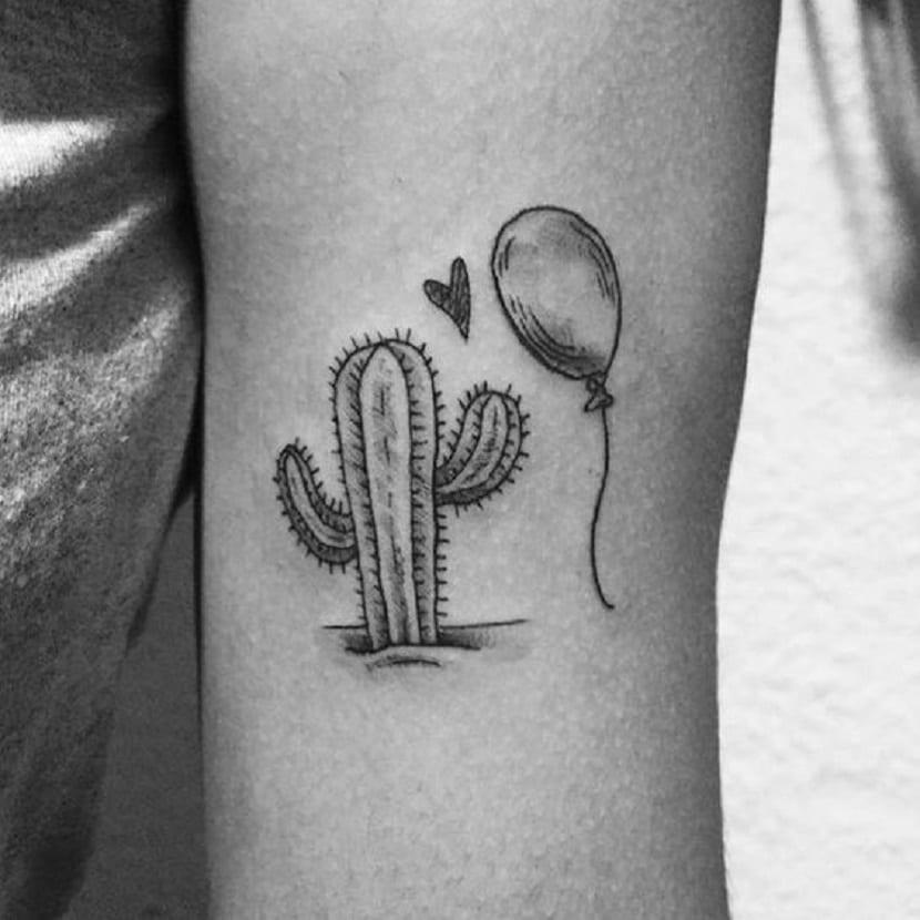 tatuaje cactus globo