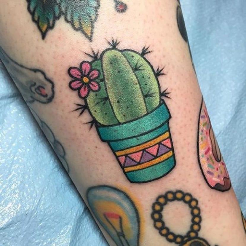 tatuaje cactus old school