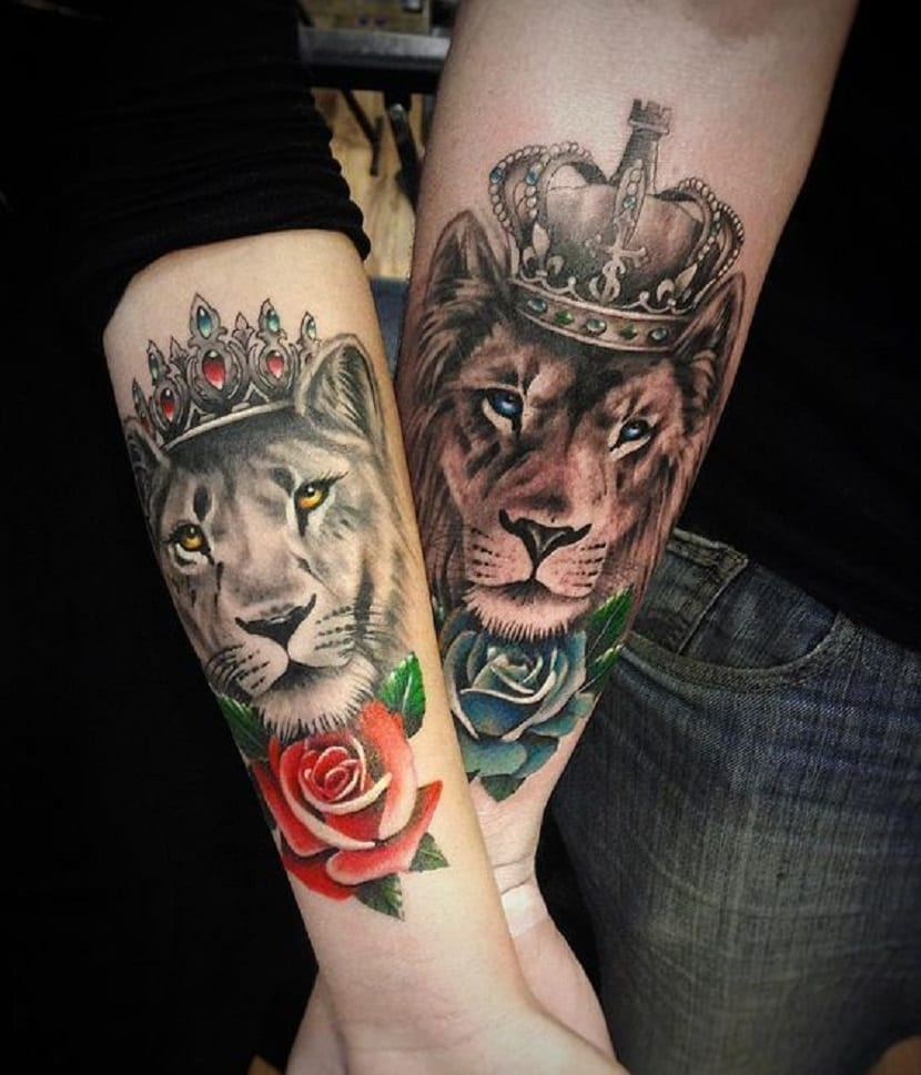 Tatuajes de leones con coronas