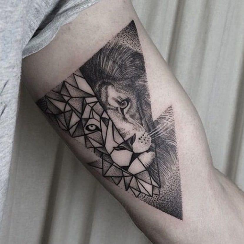 Tatuajes con leones geométricos