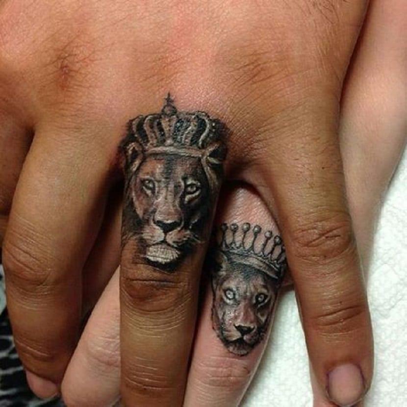 Tatuajes de leones parejas