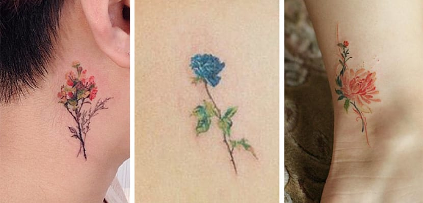 Tatuajes pequeños de flores