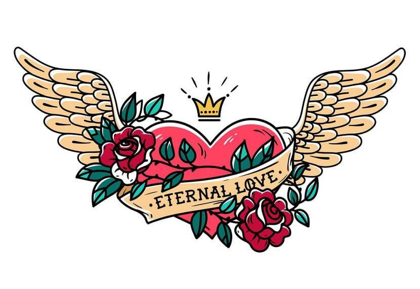 Tatuaje corazón con rosas
