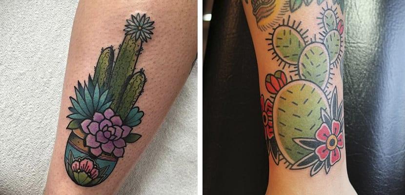 Tatuajes de cactus con flores
