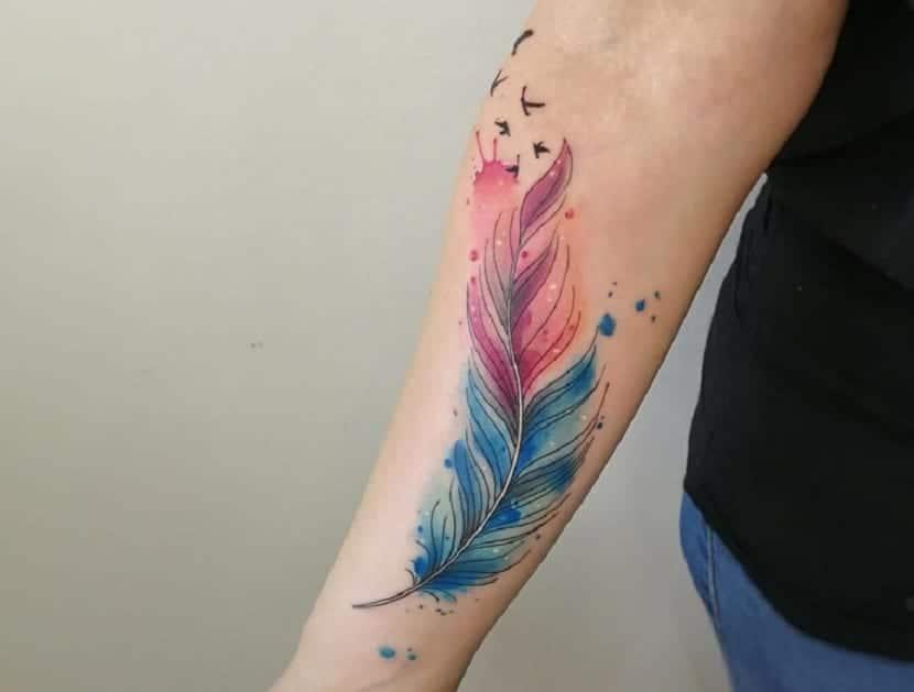 Tatuaje pluma acuarela