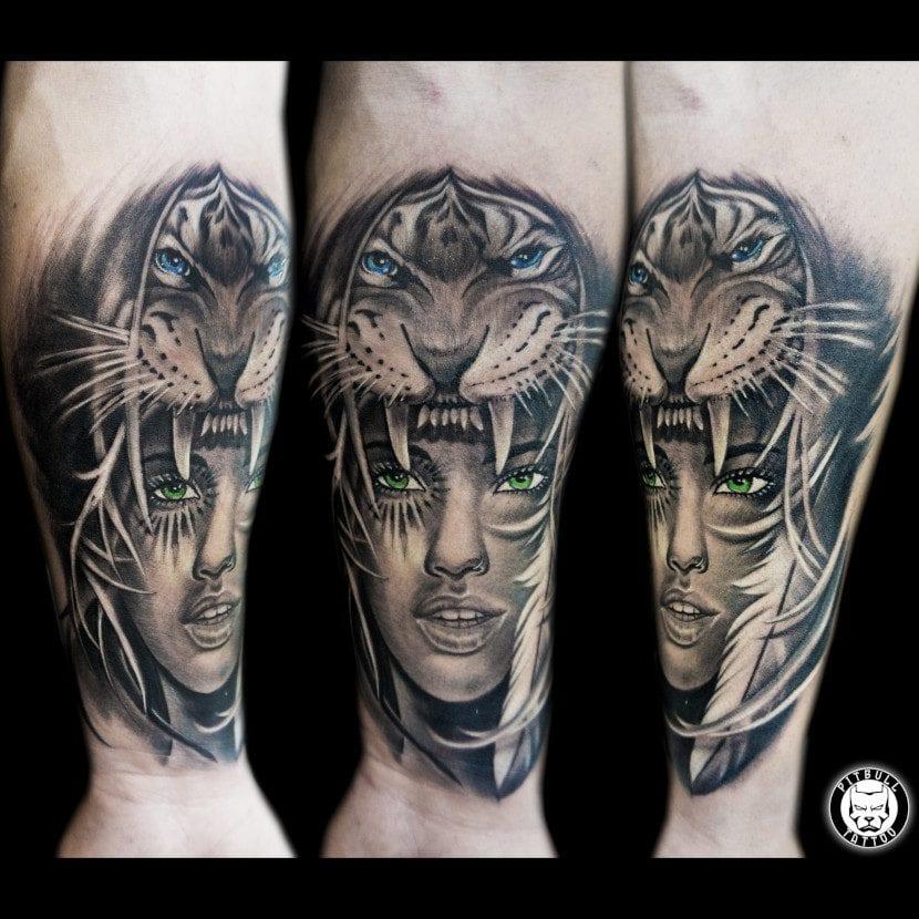 Tatuajes de Guerrera tigre
