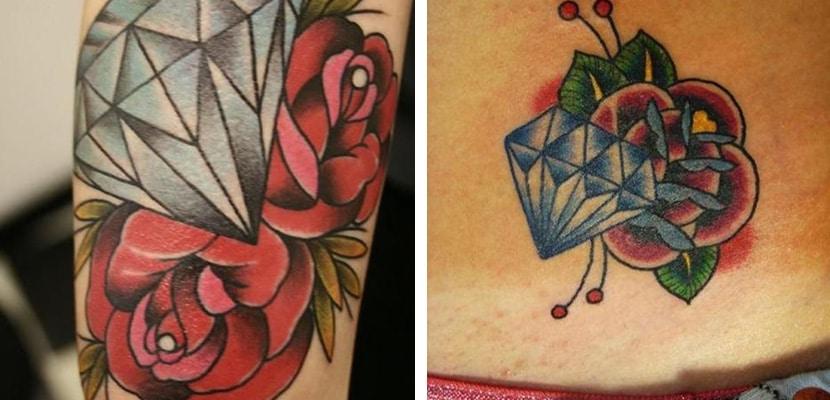 Tatuaje de diamante con rosas