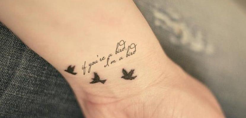 Tatuaje de pájaros con mensaje