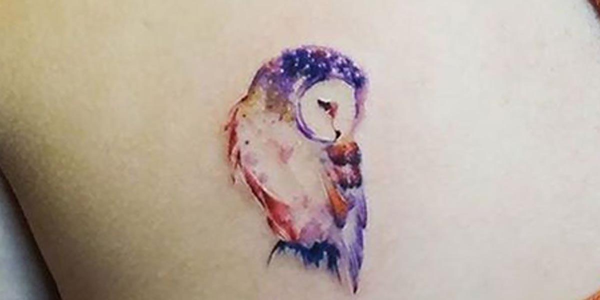Tatuajes de búhos de colores