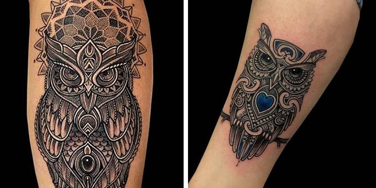 Tatuajes de búhos geométricos